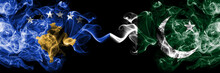 Kosovo Vs Pakistan, Pakistani Smoky Mystic Flags Placed Side By Side. Thick Colored Silky Smokes Combination Of Kosovo And Pakistan, Pakistani Flag