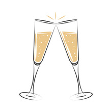 Toasting With Champagne Celebration Design Vector Illustration EPS10