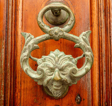 Brass Door Knocker With A Face