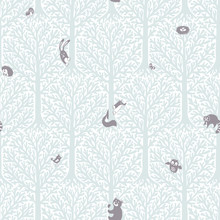Vector Cute Pattern With Forest Animals And Birds.
