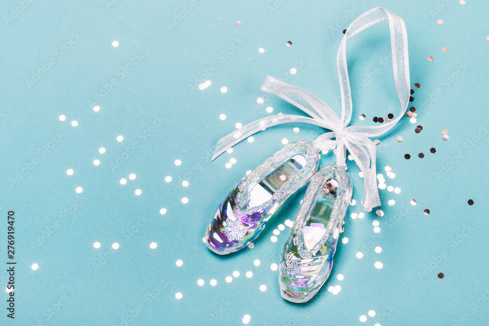 Fototapety, obrazy: Transparent Christmas Toy Pointe Shoes and silver confetti. Christmas concept