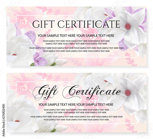 Gift Certificate Voucher Coupon Vector Template With