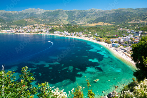 beautiful view on Himare on albanian riviera, Albania Canvas Print