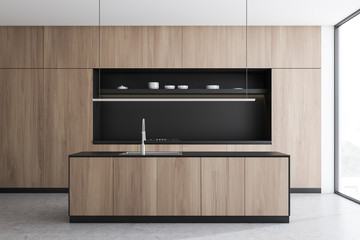 Grey and wood kitchen, island and counter