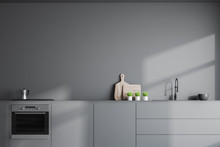Gray Kitchen Interior With Countertops