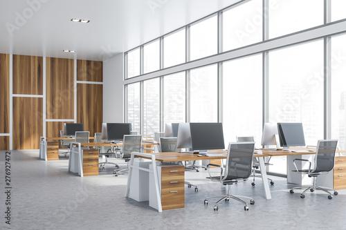 Fototapeta Wooden panoramic open space office obraz na płótnie