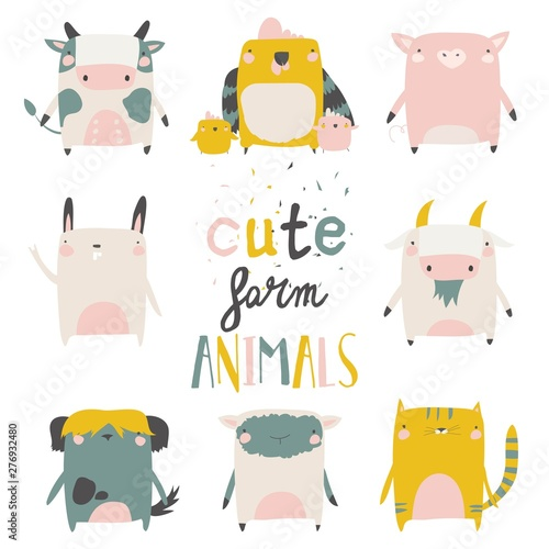 Cute farm animals set on white background. Vector illustration