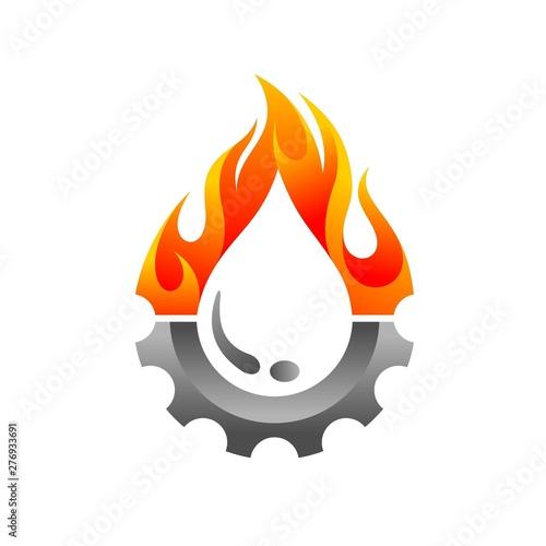 Fotografía  oil logo accompanied gear and fire concept