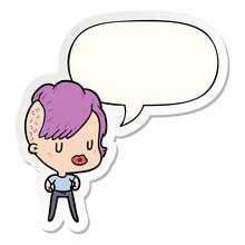 Cartoon Girl And Punk Hipster Haircut And Speech Bubble Sticker