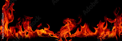 Keuken foto achterwand Vuur Fire flames on Abstract art black background