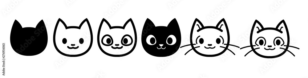 Fototapeta Cat icons collection. Kittens emoji symbols set. Black and white simple outline cats head emoticon pictures. Vector isolated.