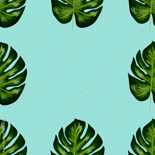Photo Stands Asia Country Seamless pattern of leaves monstera. Tropical leaves of palm tree.