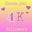 """canvas print picture - The inscription """"Thank you 4K (4000) Follower"""", and hearts, cut from a brilliant pink cardboard on a gradient yellow-pink background. Collage in magazine style..."""