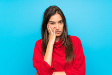 Young Woman With Red Sweater O...