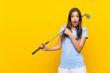 Young Golfer Woman Over Isolat...