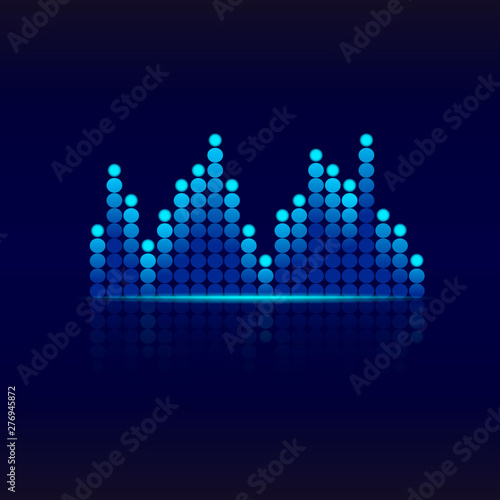 Blue graphic equalizer  Design sound wave equalizer Music equalizer