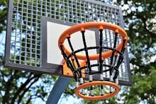 Basketball Hoop And Net Against Blue Sky