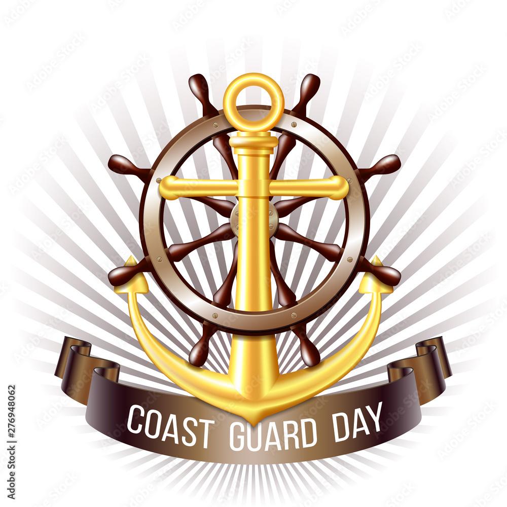 Fototapety, obrazy: Coast guard day greeting card. Nautical emblem