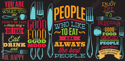 Color inscriptions in retro style on theme of eating with cutlery