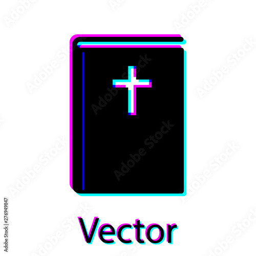 Black Holy bible book icon isolated on white background. Vector Illustration