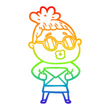 Rainbow Gradient Line Drawing Cartoon Woman Wearing Sunglasses
