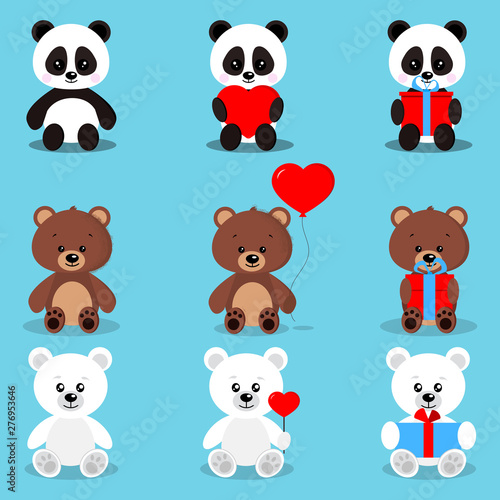 Set of isolated cute holiday bears in sitting pose with gifts and hearts:brown bear, polar bear, panda.