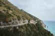 Coastline road in Amalfi, Italy. Mountain road.