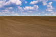 Black field and blue cloudy sky