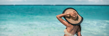 Beach Suntan Vacation Woman Relaxing Wearing Sun Fashion Floppy Hat On Ocean Background Panoramic Banner.
