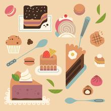 Flat Design Bakery Set