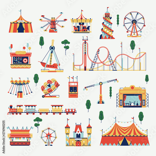 Slika na platnu Amusement park design elements