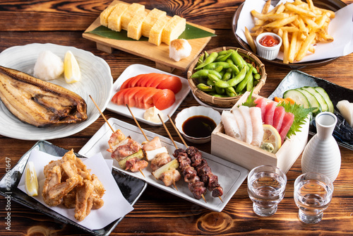 Fotografia, Obraz  japanese assorted popular izakaya appetizers