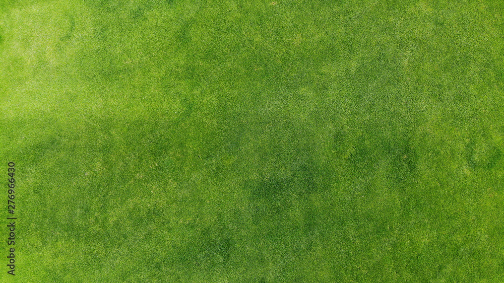 Fototapeta Aerial. Green grass texture background. Top view from drone.