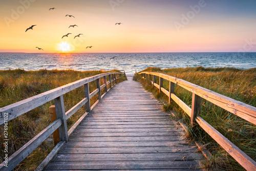 Motiv-Rollo Basic - Beautiful beach with dunes at sunset, Germany