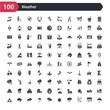 100 weather icons set such as rain umbrella, blow, cloud with thunderbolt, shining sun, raining sky, basic umbrella, cloud full of rain, upload, winter warning