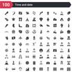100 time and date icons set such as weekly calendar, week, sandglass clock, month calendar, face treatments, extreme sports, anger, hood open, feasibility