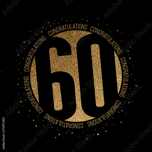 Congratulations number 60 birthday anniversary glitter circle design Tableau sur Toile