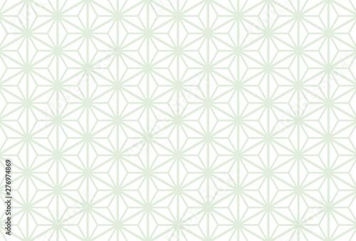 Valokuvatapetti はがきサイズ比率の麻の葉模様背景素材(白背景)横用