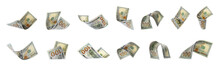 Set Of Flying Money On White B...