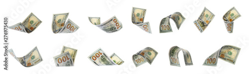 Fotomural Set of flying money on white background. Banner design