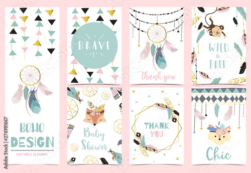 Платно  Collection of boho cards set with feather,dreamcatcher,fox,monkey