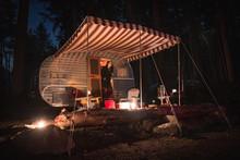 Vintage Camper Trailer At Night