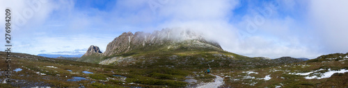 Valokuvatapetti A panorama of a Cradle Mountain and Tasmania's Overland Track with fog over the