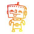 warm gradient line drawing cartoon robot