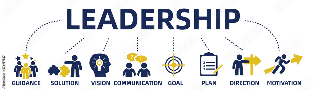Fototapeta leadership concept web banner with icons and keywords