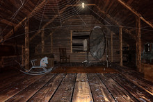 Old Creepy Attic With Cobwebs,...