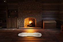 Inside A Log Cabin With A Warm...
