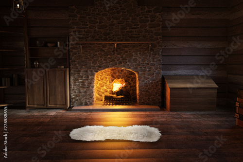 Inside a log cabin with a warm fire and a rug on the floor, 3d render Wallpaper Mural