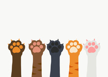 Cat Paw Teamwork Cartoon On Wh...