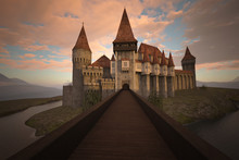 Beautiful Old Castle On A Hill Surrounded By Water And A Dreamy Sunset Sky, 3d Render.